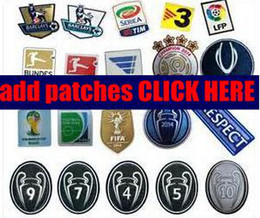 Wholesale Min Order Patches Champions League Badge Serie A Patches Copa America Cup Extra LFP Spain World Cup England Soccer Patches Short Cost