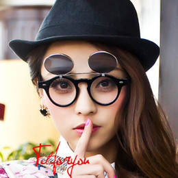 Steampunk Goth Sunglasses Round Metal Glasses Retro Circle Flip Up UV400 Goggles 4 colors Fashion Sunglasses suitable for adult