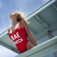 Wholesale BAE WATCH red plus size swimsuit soccer jerseys womenThe explosion of letters of pure sexy bikinis swimwear Alphabet women bikini2016