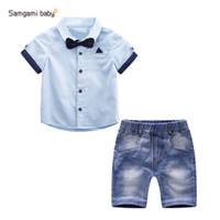 american chess - T T Denim set baby boy summer clothes Children Chess Clothes Boys shirts shorts Children Clothing Sets Cool Boys suit pc