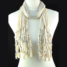 Fashion beige color jewelry beaded with jewelry neck scarf for women ,New Fashion Beads Pendant Necklace Scarf, NL-1440C