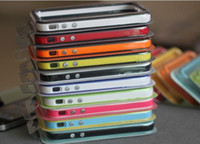 For Apple iPhone Red White 500PCS iphone 4 bumper shell frame with metal buttons