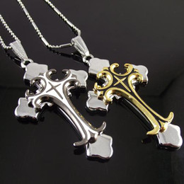 24pcs lot necklace stainless steel best selling steel big men's cross style pendant mens pendant