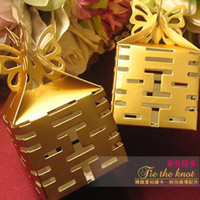 Wholesale Hot Sale Chinese new year candy box Wedding favors gift box sweet boxes Sunshine Gold
