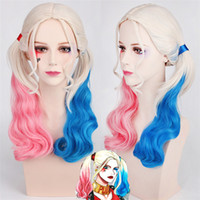 Wholesale 2016 New Hot movie Suicide Squad Harley Quinn Female Clown Cosplay Halloween Anime Curly Gradient Wigs