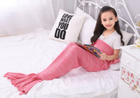 Wholesale Hot sell Children Blankets Girls cotton wool Crochet Knit Mermaid Tail swaddling chilren sofa blackets sitting room swaddling A9432