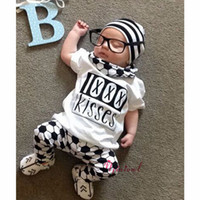 baby kissing - NWT Cute Cartoon Baby Girls Boys cotton Outfits Summer Sets Boy Cotton Tops Shirts Vest Harem Pants legging Kisses Football Soccer