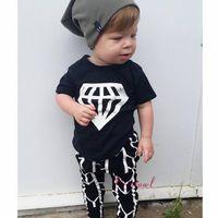 Wholesale Cool Cartoon Shirts - NWT 2016 Cute Cartoon Baby Girls Boys cotton Outfits Summer Sets Boy Cotton Tops Shirts Vest + Harem Pants legging - Cool Diamond Printings