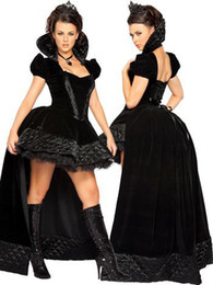 Wholesale Retail Sexy Black Wiched Queen Costume Includes Corset Top Long Back Dress High Qualtiy