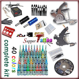 Wholesale Complete tattoo kit Machines Guns inks set Power Beginner Tattoo Supply ST058