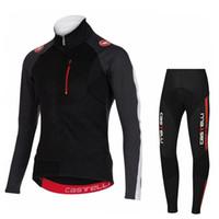 bib set designs - 2016 Castélli New Design Cycling Jerseys Set Ropa Ciclismo Long Sleeve With Cool Max Padded Bib None Bib Pants Winter Autumn Cycling Kits