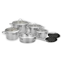 Wholesale ViTESSE PC Tri Ply Brush Stainless Steel Cookware Set
