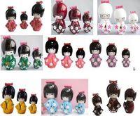 Carved japanese kokeshi dolls - pcs10Sets KOKESHI ORIENTAL JAPANESE WOODEN DOLLS