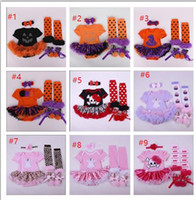 baby girls hats and headbands - Baby Girl Halloween Cosplay Costumes Pumpkin Powwow Hat Ghost Romper Dress Stockings Shoes Headband Clothing Sets styles DHL FREE