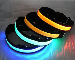 50pcs lot LED Flashing Pet Collars Luminous Pet's Collar LED Dog Cat Flash Necklace S M L XL sizes
