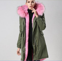 Wholesale Pink fur army parka Mr Mrs Italy Fur Trimmed Long Military Canvas Parka MR MRS FURS rabbit fur lined shell Long coats