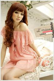 Free Shipping Hot Womens Fashion Round Neck Chiffon Lace Cuff Long Tops Mini Casual Dress Pink