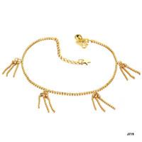 Wholesale NEW ARRIVAL K GOLD FRINGE CHARM PENDANT ANKLET WEDDING BRIDAL JEWELRY K BELLS CHAIN ANKLET J719