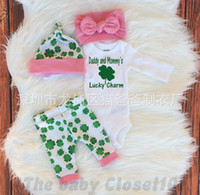 baby girls hats and headbands - NWT INS Baby girl toddler outfits piece set Leaf romper onesies bloomers legging pants hat bow headband Daddy and Mommy s Lucky Charm