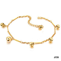 Romantic adjustable anklet bells - NEW ARRIVAL K GOLD ANKLET WEDDING BRIDAL JEWELRY K BELL ADJUSTABLE CHAIN ANKLET
