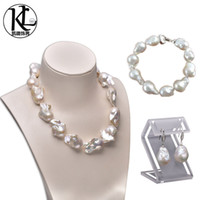 asian culture - women freshwater pearl set jewelry huge size baroque pearl high quality natural cultured freshwater pearl set necklace bracelet and earrings