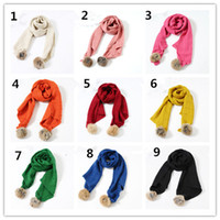 Wholesale 2016 new Autumn Winter Girls Boys pompons Knit Scarf kids plaids jacquard knitting scarf multicolors