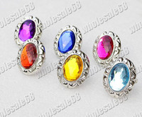 Wholesale 50pcs silver Plated Resin Rhinestone Rings jewelry box is not include