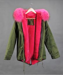 Mr & Mrs Italy Furs mini Parkas Real Raccoon Fur collar rabbit fur Liner Women Green Jacket