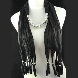 Womens jewelry spring cotton scarf   snood neck scarf   black jewellery necklace scarf , hot sale in USA , NL-1334A
