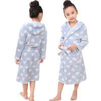 big bathrobes - Blue Dot Autumn Winter Big Kids Coral fleece Pajamas Long Sleeve Hooded Sleepwear For Boys And Girls Waistband Children Bathrobe