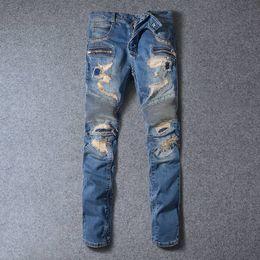 Wholesale Korean Pants For Mens - REPRESENT pants korean mens designer balmain biker jeans fashion denim jumpsuit light blue skinny destroyed ripped distressed jeans for men