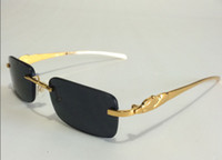 metal leopard - 7 colors luxury rimless metal gold leopard carter buffalo glasses frame men women retro sunglasses with original red box