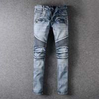 best slim jeans for men - balmain biker jeans for men Best version fear of god men Selvedge zipper destroyed skinny slim fit justin bieber Vintage ripped blue jeans