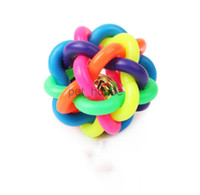 accessories for toy dogs - Diameter CM Colorful Bell Weave ball for Pet Dog Toys Dog Accessories Bell Pet Ball Rainbow Color Rubber Material Toy Hot Sale