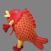 Cheap Hot Sale EVA Material Helmet Adult Size Red Carp Costume Halloween Christmas Sea Animal Fishe Crap Cartoon Mascot Clothing free shipping