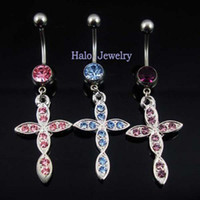 Wholesale Piercing Jewelry Navel Rings Belly Button Body Fashion Rhinestone Stainless Steel Crossing BJ0030