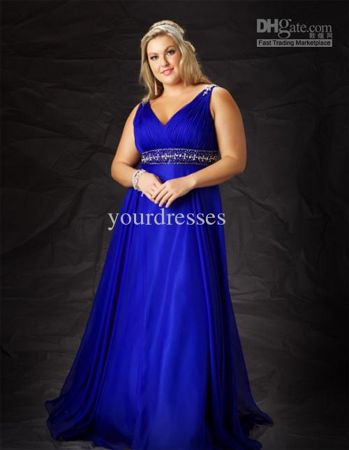 Plus size custom made v neck pleated sapphire blue bead for Plus size girdle for wedding dress