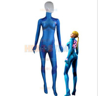 Wholesale 2016 The Newest Samus Aran Zero Suit D Printing Morph Girl Costume Hot Sale female superhero Costume show zentai suit