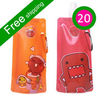 Wholesale 20pcs plastic water bottle foldable kids water bottle cartoon drinkware folding sport bottles FD25A