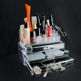 Wholesale Clear Acrylic Cosmetic Organizer Makeup Box Case Acrylic Clear Cabinet Cases Set
