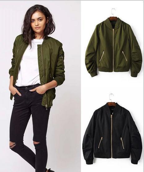 Winter Flight Army Green Bomber Jacket Women Jacket And Women's ...
