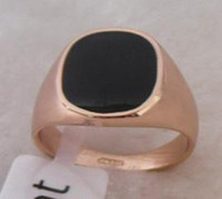 Wholesale R1098 Exquisite Black Onyx K Rose Gold Plated men s Ring Can mix build