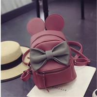 Wholesale Fangxi Korean version of Mickey ears female bag zaino quality pu leather women bag sweet bow College Wind mini backpack