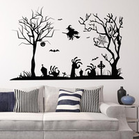 art witch - Happy Halloween Witch Tree Wall Sticker All SaHalloween Carnival Bints Day Home Wall Decor Waterproof Wallpaper x34 quot