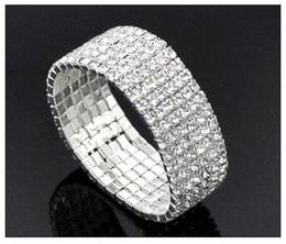 12pcs Silver Plated Rhinestone 6 Rows Elastic Bangle Bracelet 15cm