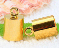 Cheap DIY 7*12mm European Style Gold End Beads,Copper Ends Tip Caps,For Leather Cord Jewelry Finding 200
