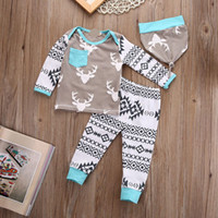 Wholesale 2017 Newborn Baby Girls Boys Xmas Christmas Deer Tops T shirt Infant Ins PP Animal Cartoon Pants Leggings Baby Hat Outfits Set