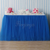 Wholesale Royal Blue Tulle Tutu Table Skirt Home Textile Wedding Table Skirt cm x cm for Wedding Event Party Baby Shower Chrismas Decorations