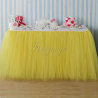 Wholesale Yellow Tulle Tutu Table Skirt Home Textile Wedding Table Skirt cm x cm for Wedding Event Party Baby Shower Chrismas Decoration