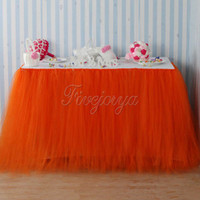 Wholesale Coral Orange Tulle Tutu Table Skirt Home Textile Wedding Table Skirt cm x cm for Wedding Event Party Baby Shower Chrismas Decoration